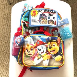 NWT Nickelodeon Paw Patrol 5 Piece Backpack Set
